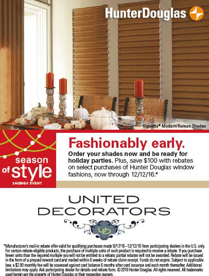Hunter Douglas shades and blinds sale