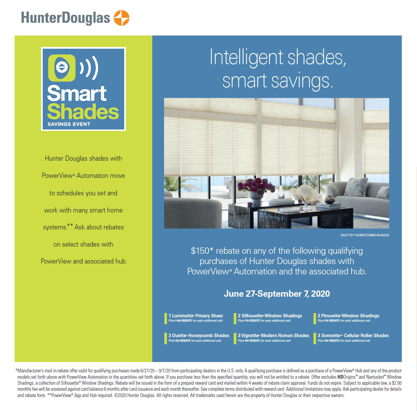 United Decorators Smart Shades Saving Event Hunter Douglas